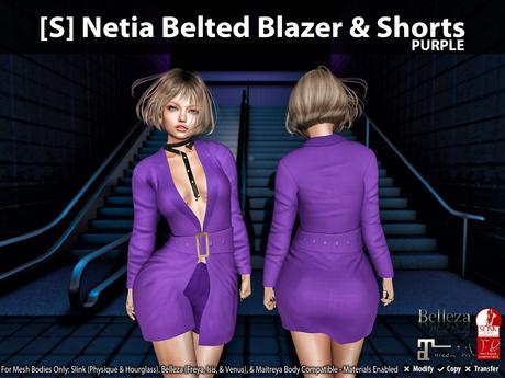 [S] Netia Belted Blazer & Shorts Purple