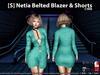 [S] Netia Belted Blazer & Shorts Cyan