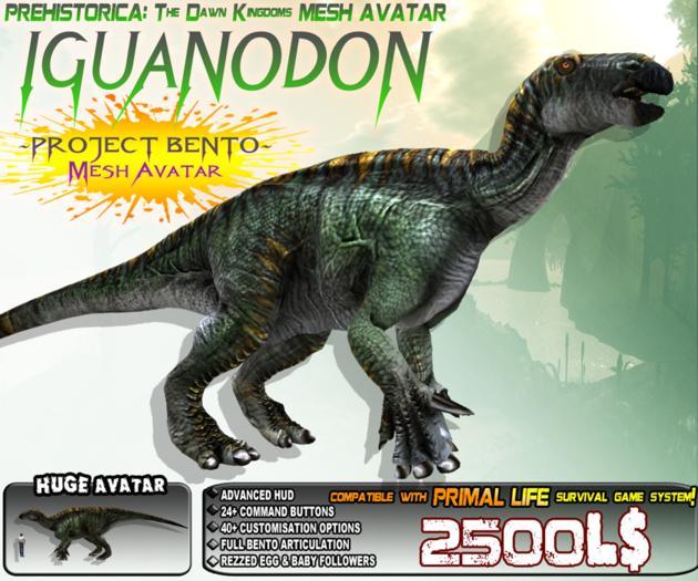 IGUANODON ~ Bento Mesh Dinosaur Avatar ~ Prehistorica: The Dawn Kingdoms ~