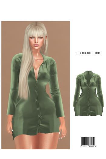 Bella Silk Blouse Dress [OLIVE] HG, BBL, 9S JESSICA, KATENA REGULAR, EBODY CURVY, LARA ::Kloss::