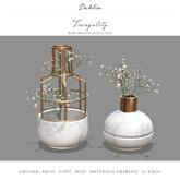 Dahlia - Tranquility - Baby Breath Flower Vases - Gold