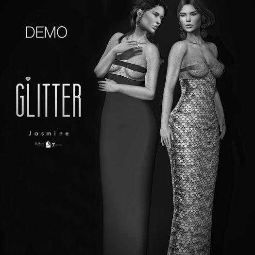 Glitter DEMO Jasmine Fitmesh Gown w/Filigree top