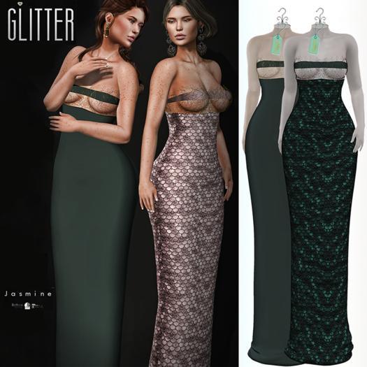 Glitter Jasmine Fitmesh Gown w/Filigree top Green Wood