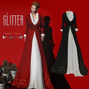 Glitter Lady Snow Fitmesh Long Coat Black