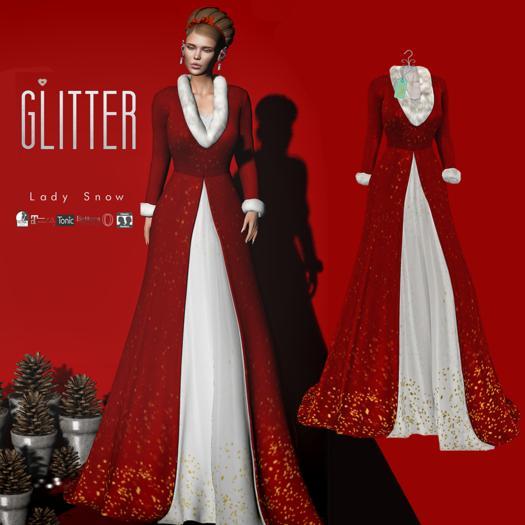 Glitter Lady Snow Fitmesh Long Coat Red
