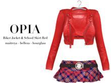 OPIA Biker Jacket & School Skirt Red