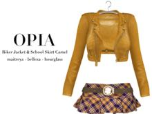 OPIA Biker Jacket & School Skirt Camel