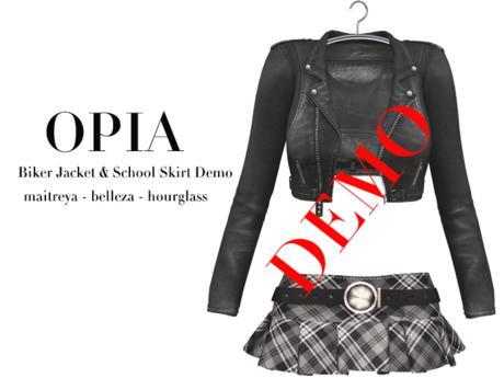 OPIA Biker Jacket & School Skirt DEMO