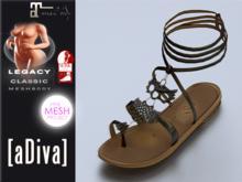 aDiva Recon Owl TMP Bare + Slink AvEnhan Flat Sandal Anthracit