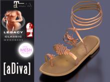 aDiva Recon Owl TMP Bare + Slink AvEnhan Flat Sandal Peach