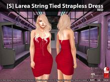 [S] Larea String Tied Strapless Dress Red