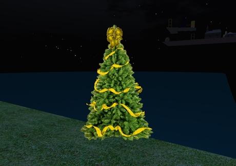 Second Life Marketplace Christmas Tree W Yellow Ribbon Bow