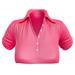 EVIE - ActiveBabe - Polo Crop Top - Pink
