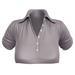 EVIE - ActiveBabe - Polo Crop Top - Grey