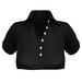 EVIE - ActiveBabe - Polo Crop Top - Black