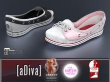 aDiva Doll Cotton White/Black/Pink Sneakers TMP Flat & Slink Bare & Maitreya Lara Flat Feet Addon