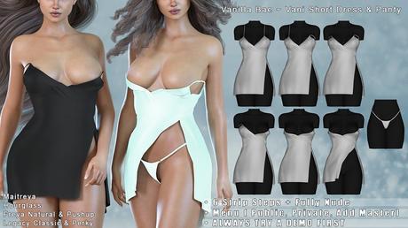 *Vanilla Bae* Vani Short Dress - 18 Color Fat Pack - Strip Me - Maitreya / Freya & Pushup / Legacy & Perky / HG