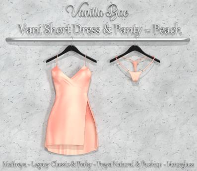 *Vanilla Bae* Vani Short Dress - Peach Single Pack - Strip Me - Maitreya / Freya & Pushup / Legacy & Perky / HG