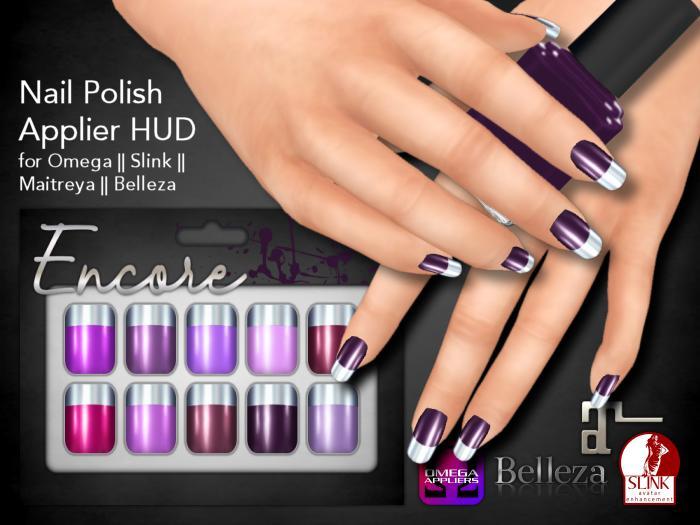 [Encore] Nail Appliers - Metallic Purples (Slink/Omega/Belleza/Maitreya)