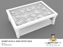 SUMMER SALE 50% OFF - Joolee Tee Builders - Shabby Iron & Glass Coffee Table