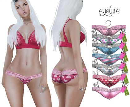 Eyelure  Lace Panties  with Appliers - Love Pack of 7