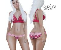 Eyelure Lace Halter Top & Red Hearts Lace Panties SET w/appliers