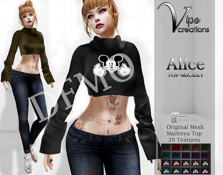 [Vips Creations] - DEMO - Original Mesh Top - [Alice-Mickey] - Maitreya Top