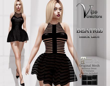 [Vips Creations] - Original Mesh Dress-[Beatriz-Black Lace]HUD-Maitreya
