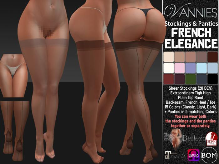 VANNIES Stockings/Panties French Elegance (Applier HUD + BoM) (Belleza, Legacy, Maitreya, Slink, Omega + Classic Avatar)