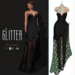 Glitter Eternal Fitmesh gown Fishcale Black with removal skirt