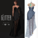 Glitter Eternal Fitmesh Gown Fishcale Sky with removal skirt