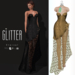 Glitter Eternal Fitmesh Gown Fishcale Gold with removal skirt