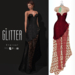 Glitter Eternal Fitmesh Gown Fishcale Fraise with removal skirt