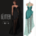Glitter Eternal Fitmesh Gown Fishcale Acqua with removal skirt