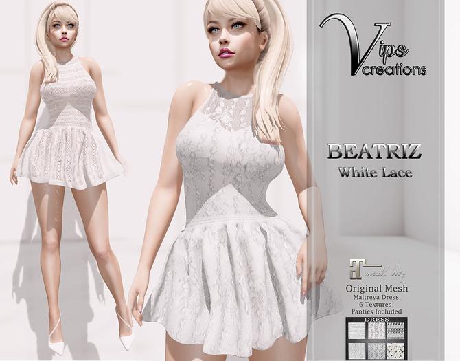 [Vips Creations] - Original Mesh Dress -[Beatriz-White Lace]HUD-Maitreya