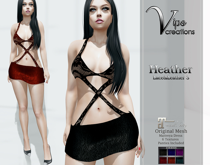 [Vips Creations] - Original Mesh Dress - [Heather3]HUD-Maitreya