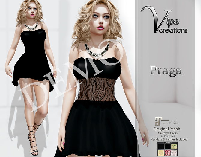 [Vips Creations] - DEMO - Original Mesh Dress - [Praga]-Maitreya