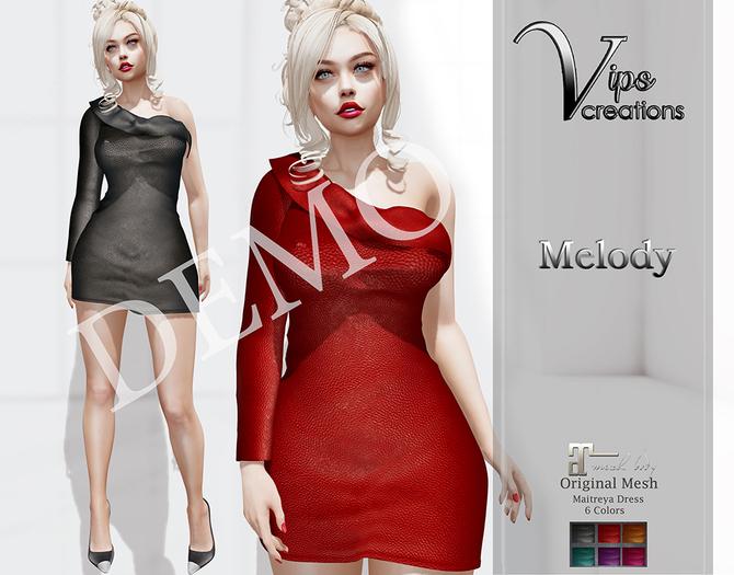 [Vips Creations] - DEMO - Original Mesh Dress - [Melody-Leather]-Maitreya