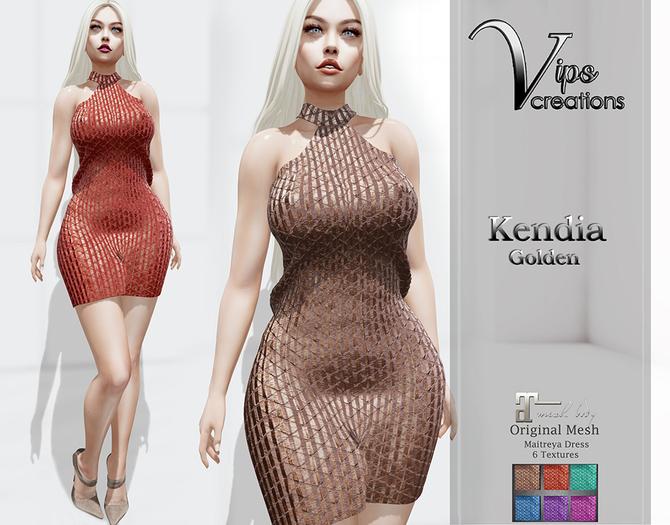[Vips Creations] - Original Mesh Dress  - [Kendia 1-Gold]HUD - Maitreya