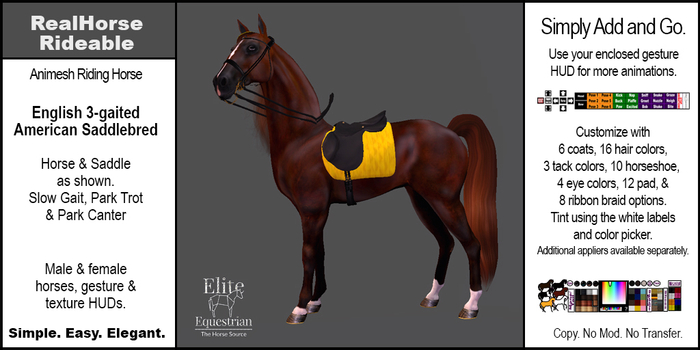 *E* RealHorse Rideable - Saddlebred English  [Add & Click]