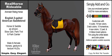*E* RealHorse Rideable - Saddlebred English  [Add & Click]