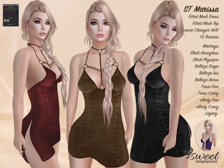ST :: Marissa Dress and Top  for Maitreya, Slink, Belleza, eBody, Tonic, Legacy. 10 Text HUD