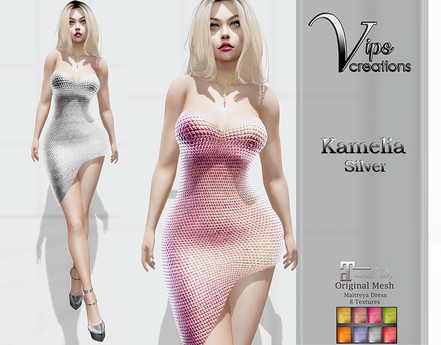 [Vips Creations] - Original Mesh Dress - [Kamelia-Silver]HUD-Maitreya