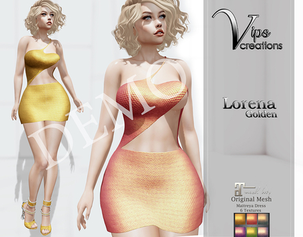 [Vips Creations] - DEMO - Original Mesh Dress - [Leonora Golden]-Maitreya