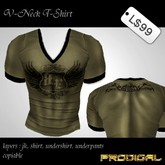 * Prodigal * v-neck t-shirt wing khaki