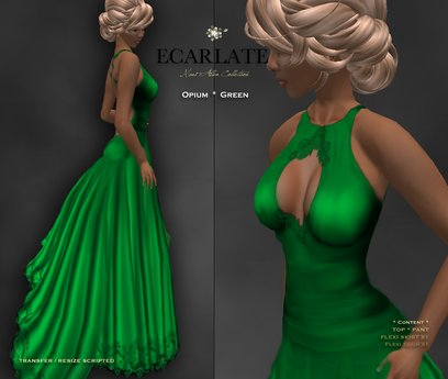 Ecarlate - Opium - Gown Formal - Green / Robe formelle