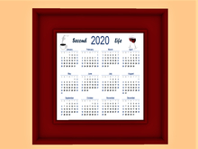 2020 Wall Calendar #01 in Colorful MESH FRAME Second Life, Coffee & Wine! Copy/Mod, 1 LI, Designs Front/Back, Picture