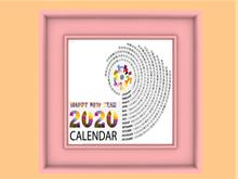2020 Wall Calendar #06 in Colorful MESH FRAME Spiral Design! Copy/Mod, 1 LI, Designs Front & Back, Poster, Picture!