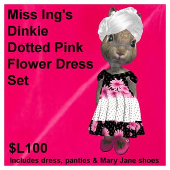 Miss Ing's Dinkie Dotted Pink Flower Dress Set