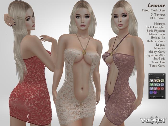 PROMO - Vaxer : Leanne Dress- Maitreya, Slink, Belleza, Tonic, eBody, Legacy, Altamura, Signature, StarBody. 15 Tex.